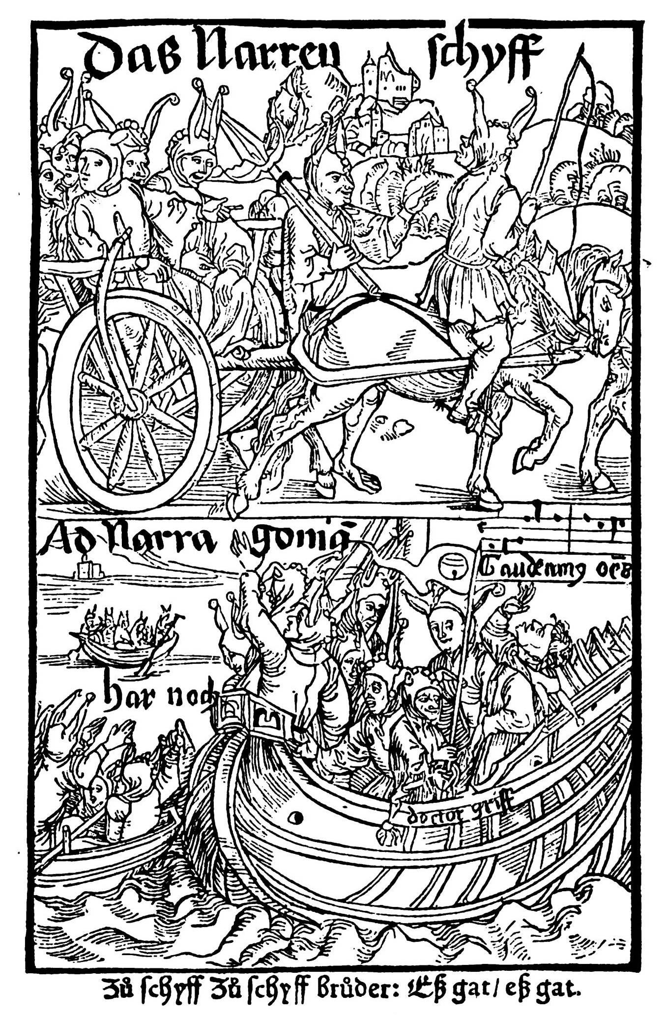 """""""Narrenschyff"""" von Sebastian Brant (1457–1521), Titelseite, [Public domain], via Wikimedia Commons"""