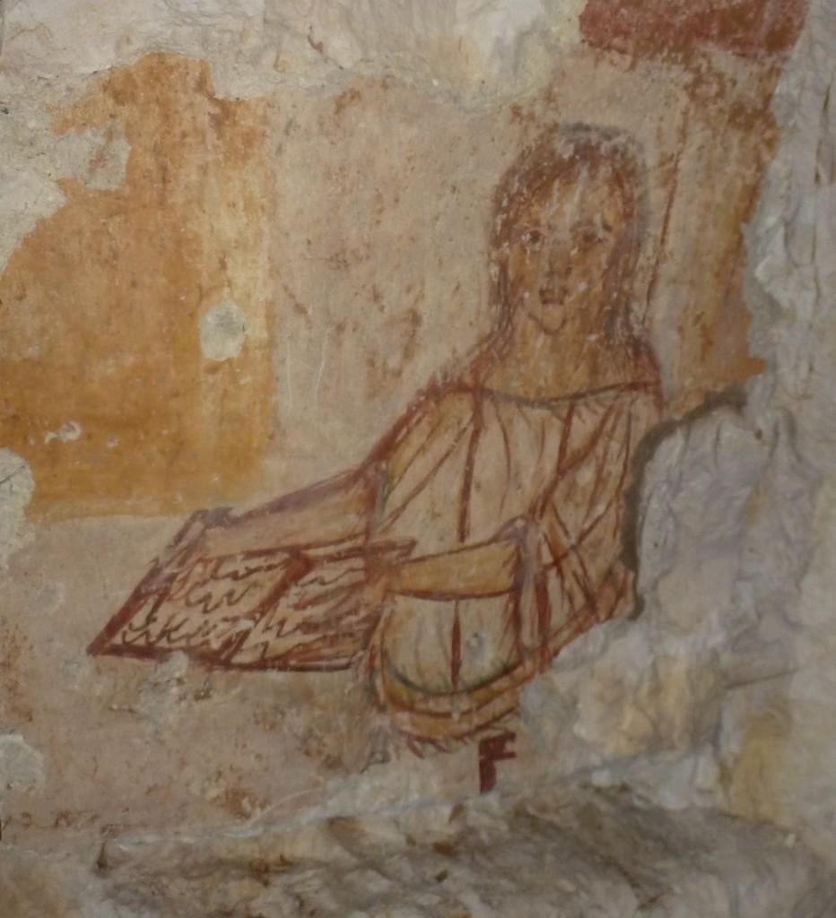 Darstellung einer Frau mit Schreibtafel, Fresko aus der Nekropole in Abila (Jordanien), August 2014. Fotograf: M. Hölscher