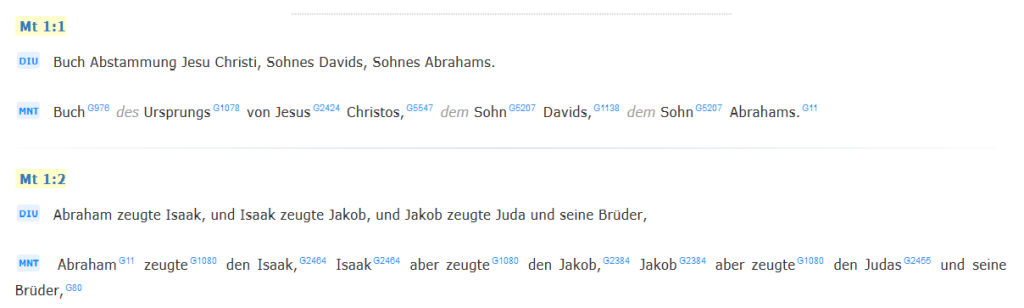 So sieht der Übersetzungsvergleich für die Deutsche Interlinearübersetzung (DIU, 1979) und das Münchener Neue Testament (MNT, 1998) auf der Seite www.obohu.cz/ von Diviš Libor aus. Die hochgestellte Buchstaben-Zahlen-Kombination ordnet den übersetzten Begriff eindeutig der Urtextvokabel nach der Klassifikation von James Strong zu.