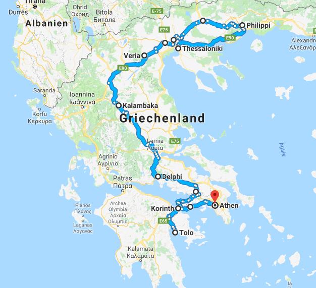 Auf dieser Route haben wir Griechenland erkundet (Bild: Google Maps).